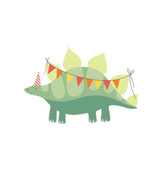 cute stegosaurus dinosaur in party hat with party vector image