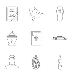 Death of person icons set outline style vector image