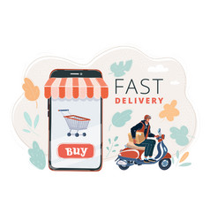 delivery man ride bike get order vector image
