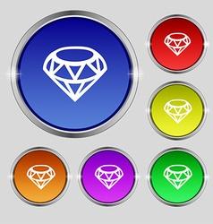 Diamond Icon sign Round symbol on bright colourful vector
