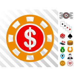 dollar casino chip icon with bonus vector image