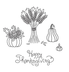 doodle thanksgiving vintage sheaf wheat and vector image