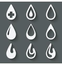 Drop icon set vector