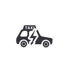 Electric taxi side view silhouette simple black vector
