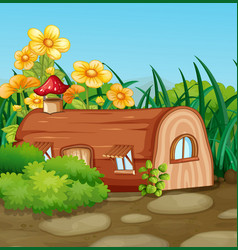Enchanted wooden house in nature vector