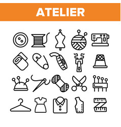 Fashion atelier and sewing linear icons set vector