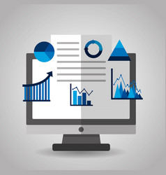 financial charts and graphs on the computer vector image