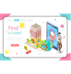 find a hotel flat isometric concept vector image