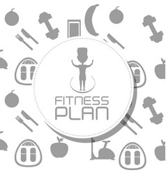 Fitness diet plan with exercise elements vector