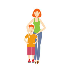 Flat adult woman and boy kid isolated vector