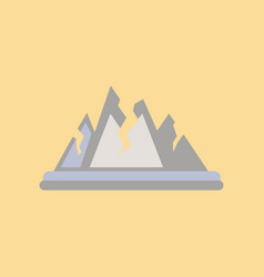 Flat icon on stylish background cracks mountains vector