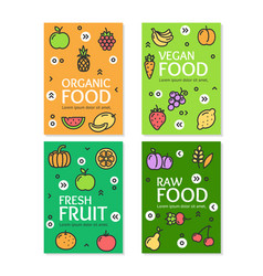 fresh fruit raw organic vegan food flyer banner vector image