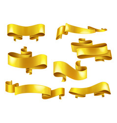 golden ribbons with copyspace realistic set vector image