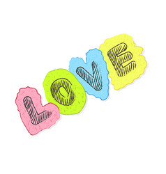 hand drawn love text lettering vector image
