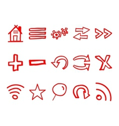 Hand drawn web icons and logo arrows internet vector image