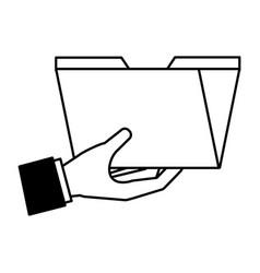 hand holding folder file social media vector image