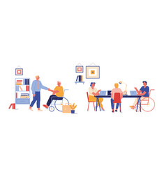 Handicapped people working in office disabled man vector