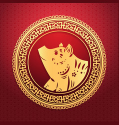 Happy chinese new year 2019 lunar pig zodiac sign vector