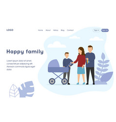 Happy family landing page template parents vector