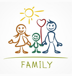 Happy family stick figure vector