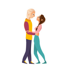 Happy loving couple hugging looking at each other vector