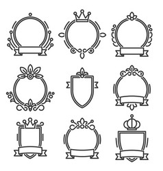Heraldic baroque frame set on white background vector