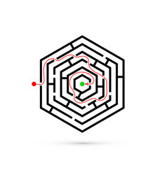 Hexagon maze with way to center problem business vector