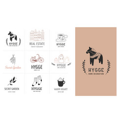 hygge - simple life in danish collection of hand vector image