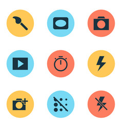 Image icons set with circle vignette timer and vector