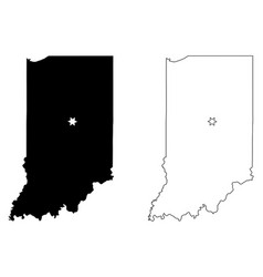 indiana in state maps usa with capital city star vector image