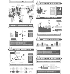 INFOGRAPHIC DEMOGRAP WORLD PERCENTAGE GREY vector image