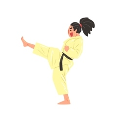 Karate professional fighter in kimono kicking vector
