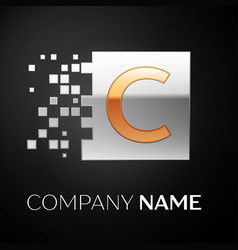 Letter c logo symbol in the golden-silver square vector