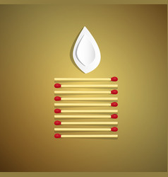 Lit candle made from safety matches with paper vector
