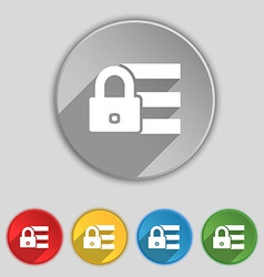 Lock login icon sign Symbol on five flat buttons vector image