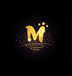 M letter alphabet icon design with golden star vector