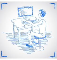 Man working with computer vector image vector image
