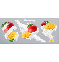 mango and milk splash yogurt 3d realistic icon vector image