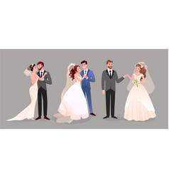 marriage wedding couple set cute newlywed bride vector image
