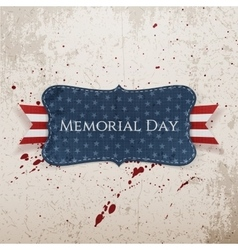 Memorial Day greeting Label and Ribbon vector image