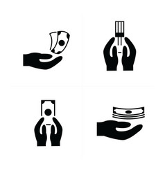 money in the hand icons vector image