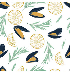 Mussels seamless pattern in flat style on white vector
