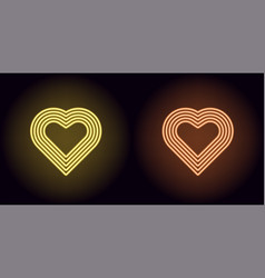 neon heart in yellow and orange color vector image
