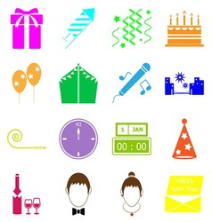 New year colorful icons on white background vector image