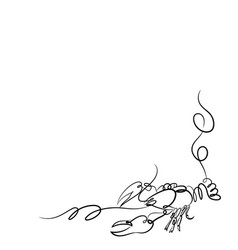 One line crayfish design silhouette vector