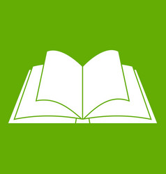 Opened book with pages fluttering icon green vector