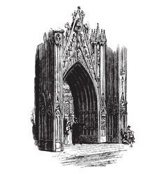Ornate gothic door gothic style church vintage vector