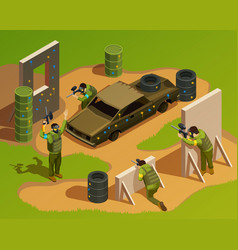 Outdoor paintball isometric composition vector