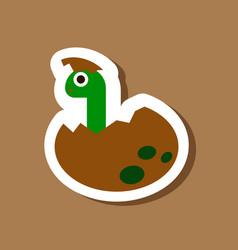 Paper sticker on stylish background dinosaur egg vector
