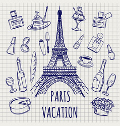 Paris or france symbols sketch vector